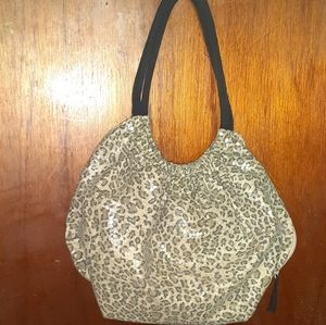 Candie's sexy leopard & clear sequin shoulder bag